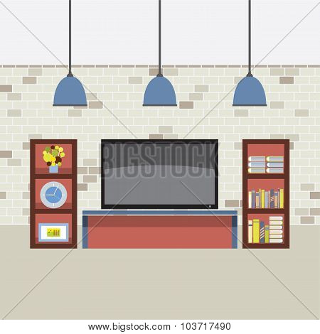 Living Room Decorated Vector Illustration.