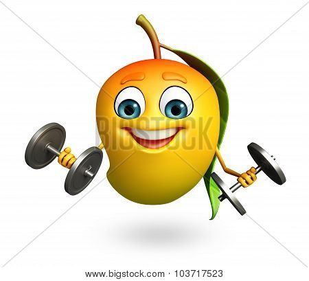 Cartoon Character Of Mango With Weights