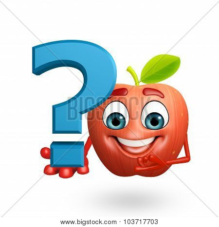 Cartoon Character Of Apple Fruit With Question Mark