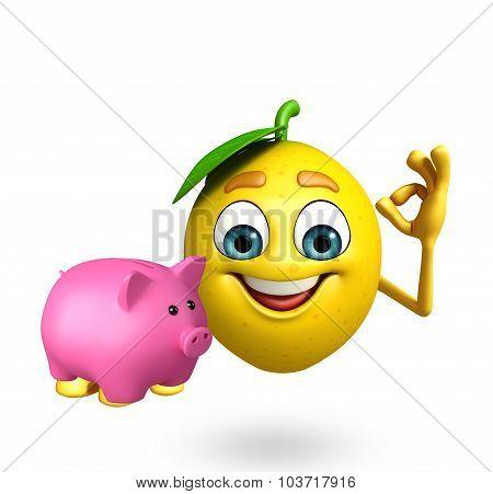 Cartoon Character Of Lemon With Piggy Bank