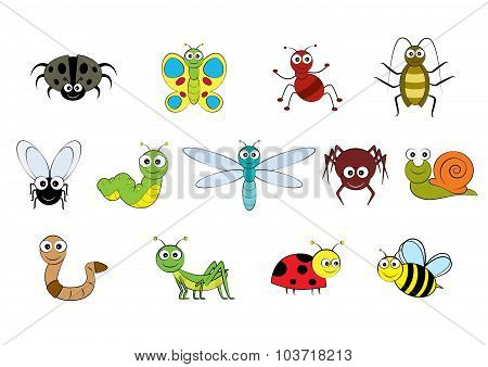 Vector Cartoon-style Mini Beasts Illustration