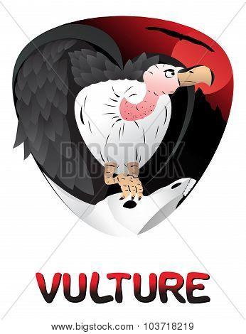 Illustration Of Cute Cartoon Vulture