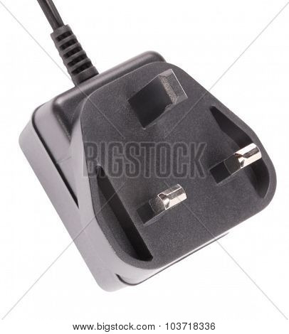 Uk Outlet Plug With Cord Isolated