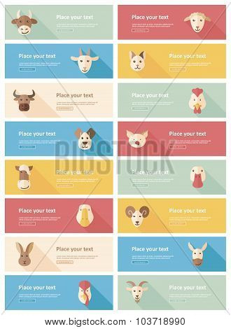 Farm animals flat banner background set