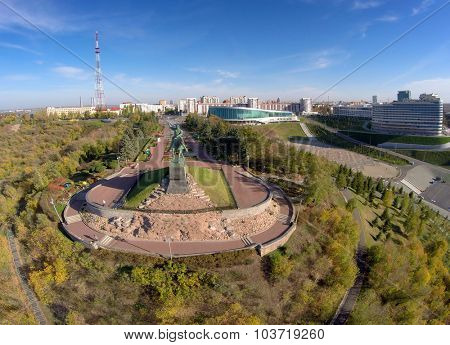 aerial landscape of Ufa city with Salavat Yulaev monument, Russia