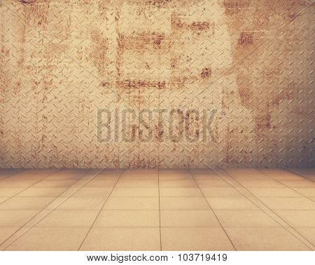 grunge metallic room, industrial background, retro film filtered, instagram style