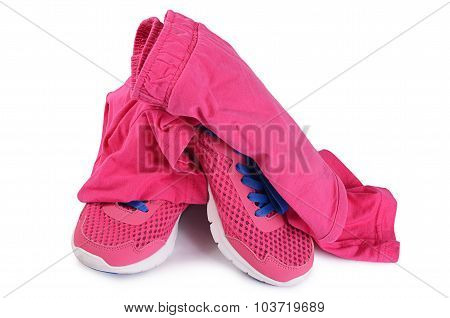 Tracksuit Pink Color  Isolated On White