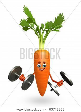 Cartoon Character Of  Carrot With Weights