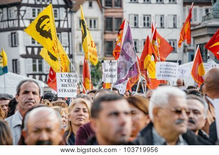 Demonstrators Protesting Against Turkish President Erdogan Policy