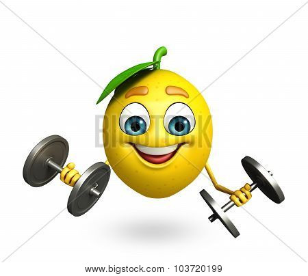 Cartoon Character Of Lemon With Weights