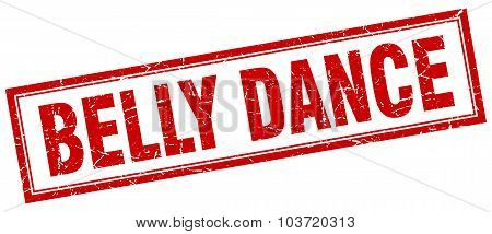Belly Dance Red Square Grunge Stamp On White