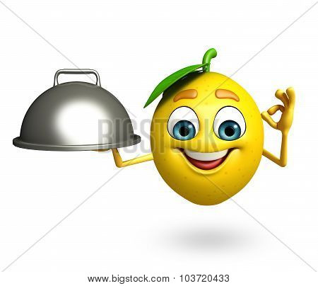 Cartoon Character Of Lemon With Pan