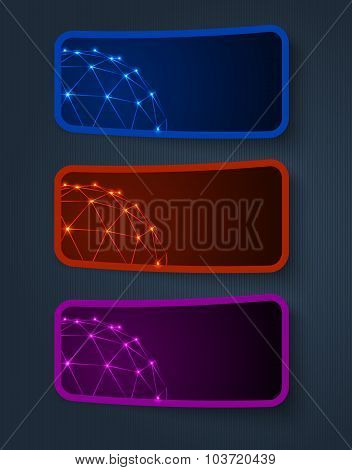 vector sticker banners, grouped, easy to modify