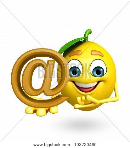 Cartoon Character Of Lemon With At The Rate Sign