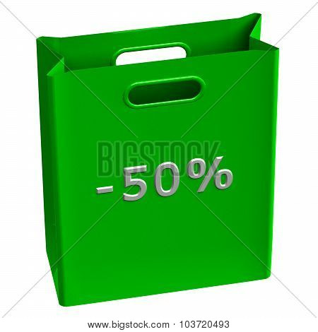 Green Shopping Bag With Word -50%