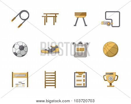 Flat style physical education color vector icons set