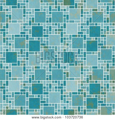 Teal And White Square Mosaic Abstract Geometric Design Tile Pattern Repeat Background