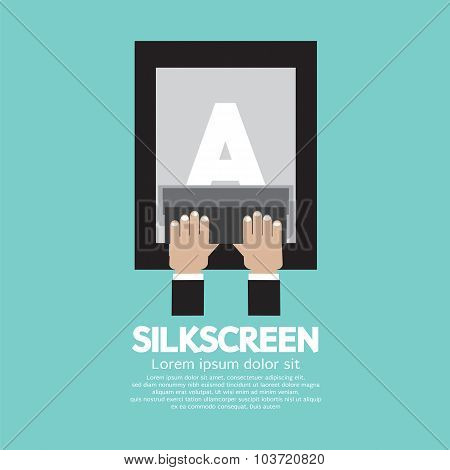Silkscreening With Squeegee Vector Illustration.