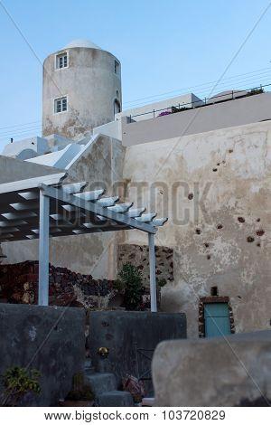 Cyclades Islands Landscape, Town of Imerovigli, Santorini, Thira,