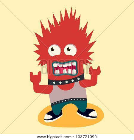punk monster. vector illustration