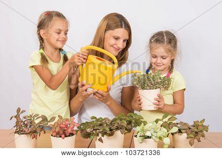 Joyful Mother And Children Watering Flowers