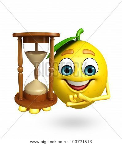 Cartoon Character Of Lemon With Sand Clock