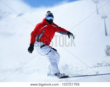 Snowboarder in action, winter sport
