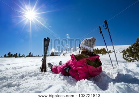 Woman skier enjoy in winter sunny day, holiday and relax