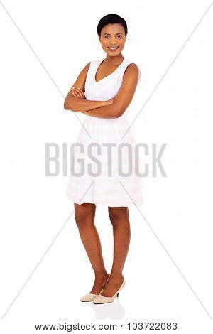 portrait of happy african girl with arms crossed
