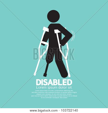 Disabled Person With Crutch Black Symbol Vector Illustration.
