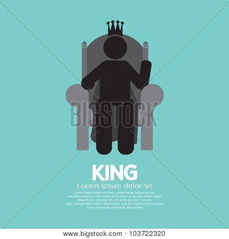 The King With His Throne Vector Illustration.