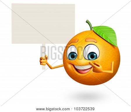 Cartoon Character Of Orange With Sign