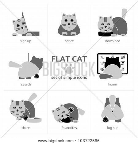 Flat Cat - Set Of Simple Icons