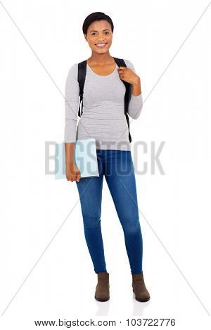 pretty female african american university student full length isolated on white