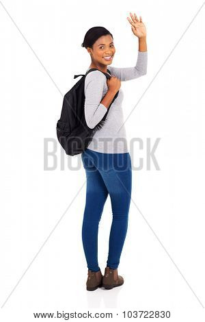 happy african american college student waving goodbye isolated on white background