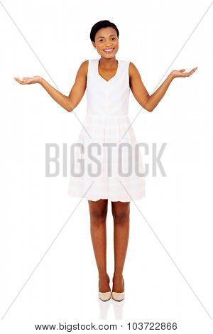beautiful african woman making do not know sign on white background