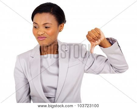 afro american businesswoman with thumb down on white background