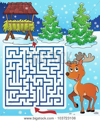 Maze 3 with hay rack and reindeer - eps10 vector illustration.