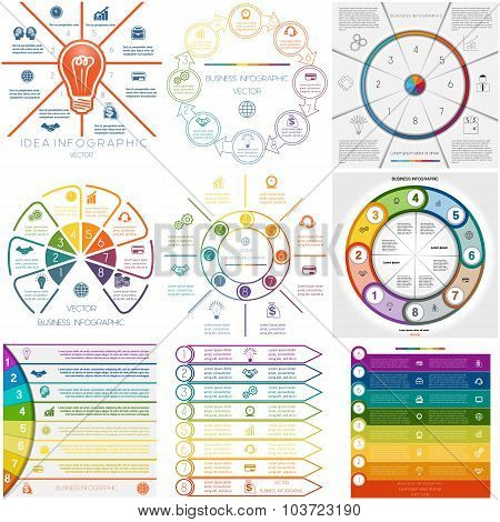 Set 9 Templates Infographics Cyclic Processes Eight Positions