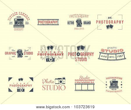 Vintage Textured Photography Badges, Labels. 2 Retro Colors design with stylish cameras and elements