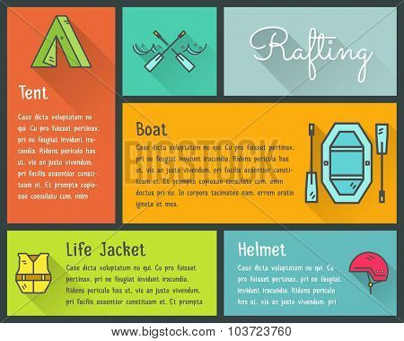 Flat design vector infographics of kayaking, canoe equipment with text and icons, emblems. Cute styl
