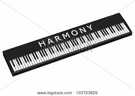 Black Piano With Word Harmony