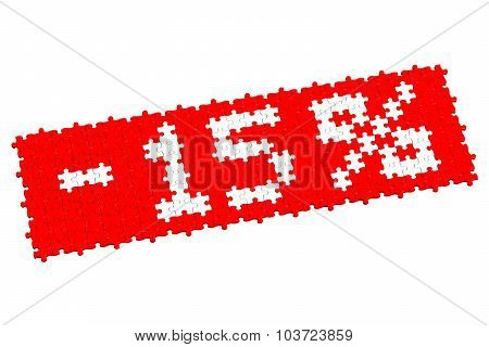Red Puzzle With Sign -15%