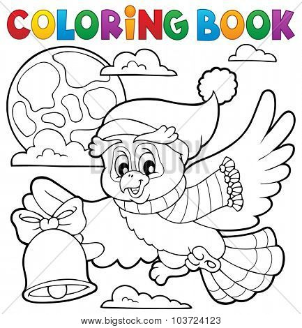 Coloring book Christmas owl theme 1 - eps10 vector illustration.