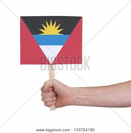 Hand Holding Small Card - Flag Of Antigua And Barbuda