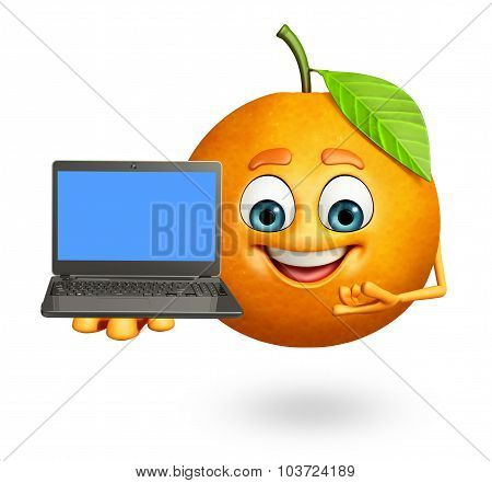 Cartoon Character Of Orange With Laptop