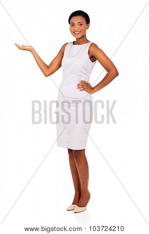 happy african businesswoman presenting empty space on white background
