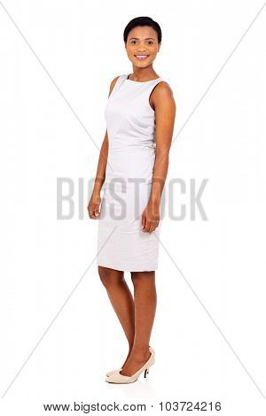 side view of african woman standing on white background