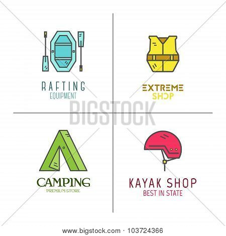 Collection of minimalistic rafting logos, labels or line badges. Outdoor adventure, cute color desig