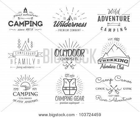 Set of retro badges and label logo graphics. Camping emblems and travel insignia. Monochrome vintage